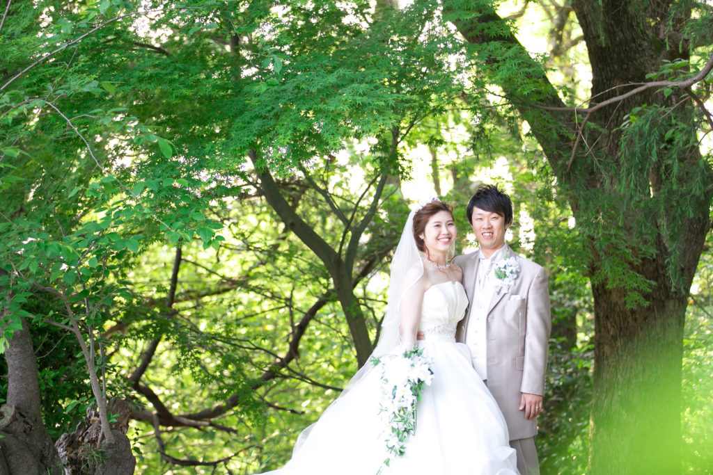 ウェディングドレスで前撮り 大牟田市延命公園