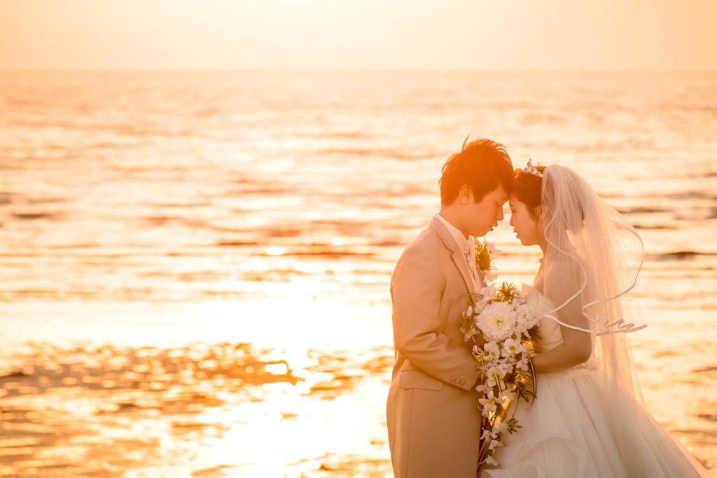 前撮り写真 大牟田市三池海水浴場の夕日