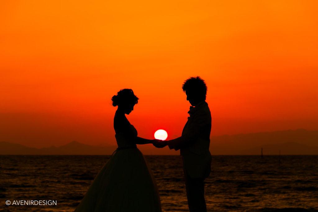 夕日の前撮りロケーションフォト